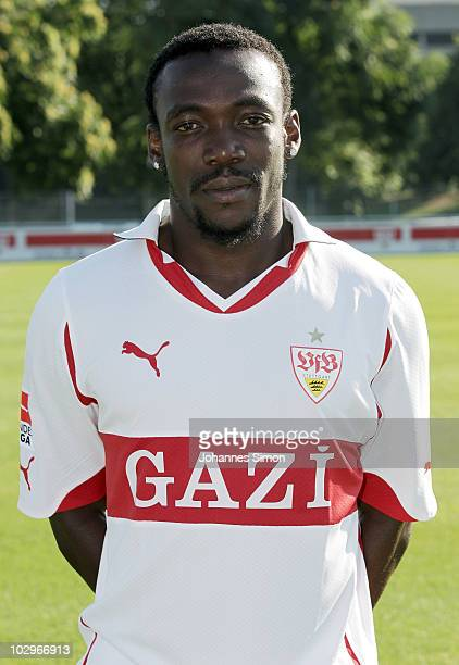 Football player Arthur Boka poses during the VfB Stuttgart team presentation on July 19 2010 in Stuttgart Germany