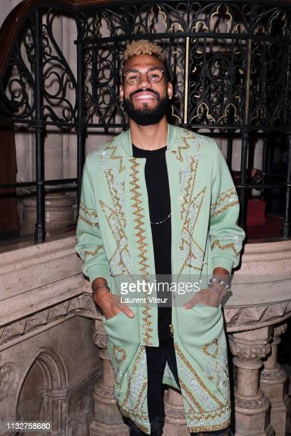 Football Player at PSG Eric Choupo Moting attends the Manish Arora show as part of the Paris Fashion Week Womenswear Fall/Winter 2019/2020 on...
