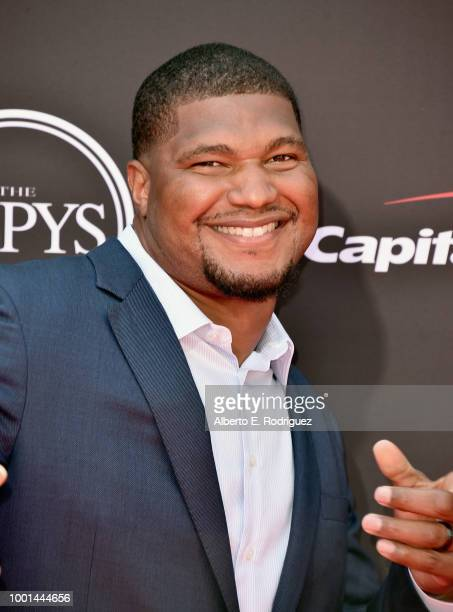 Football player Calais Campbell attends The 2018 ESPYS at Microsoft Theater on July 18 2018 in Los Angeles California
