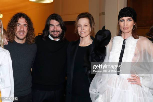 Football Player Carles Puyol Stylist Stephane Rolland actress Sigourney Weaver and model Nieves Alvarez attend the Stephane Rolland Haute Couture...