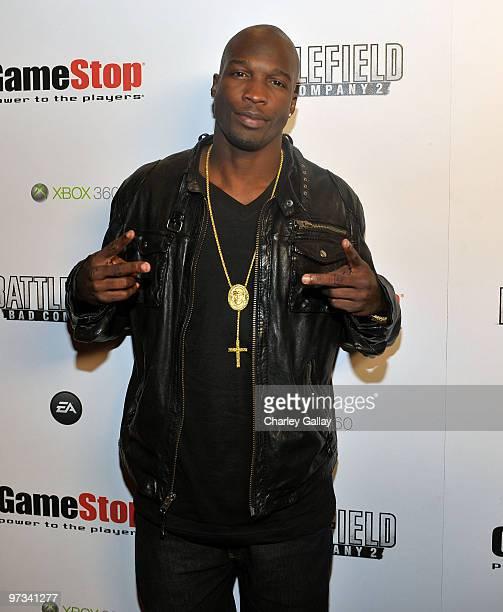NFL football player Chad Ochocinco attends the Battlefield Celebrity Bracket Challenge presented by EA in celebration of EA's 'Battlefield Bad...