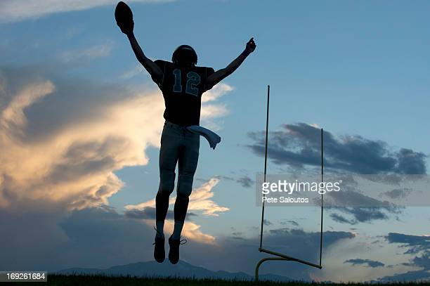 football player cheering in game - safety american football player stock pictures, royalty-free photos & images
