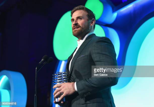 Football Player Chris Long accepts award onstage at The 22nd Annual Webby Awards at Cipriani Wall Street on May 14 2018 in New York City