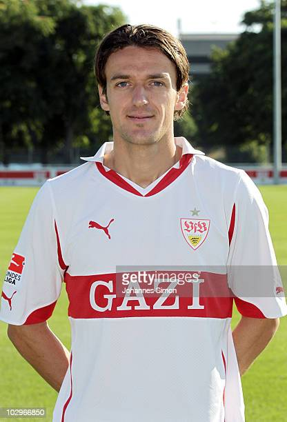 Football player Christian Gentner poses during the VfB Stuttgart team presentation on July 19 2010 in Stuttgart Germany