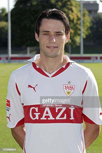 Football player Christian Traesch poses during the VfB Stuttgart team presentation on July 19 2010 in Stuttgart Germany