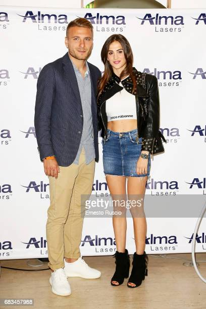 Football Player Ciro Immobile and Jessica Melena attend the Alma Lasers Event at Centrale Del Tennis during the Tennis Internazionali BNL d'Italia...