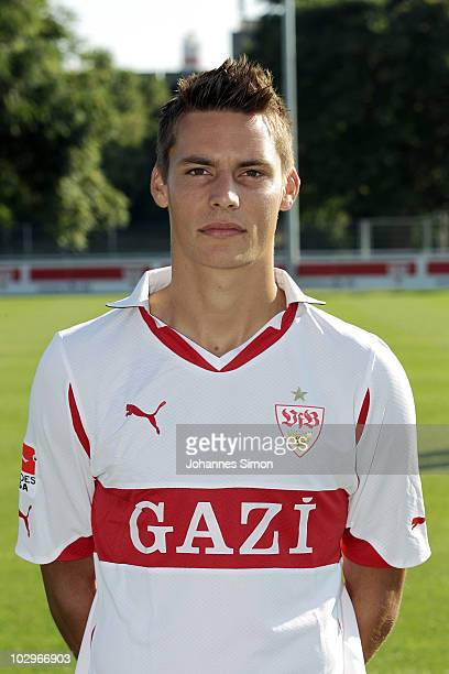 Football player Clemens Walch poses during the VfB Stuttgart team presentation on July 19 2010 in Stuttgart Germany