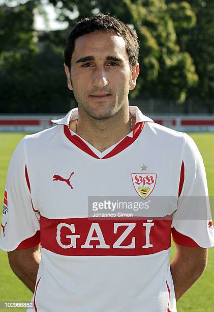 Football player Cristian Molinaro poses during the VfB Stuttgart team presentation on July 19 2010 in Stuttgart Germany