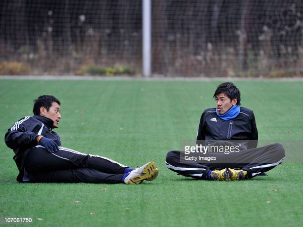 Football player Daisuke Matsui and Kim Nam-il of FC Tom Tomsk during portrait session on October 29, 2010 in Tomsk, Russia.