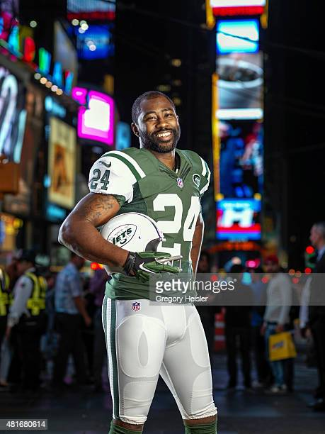 Football player Darrelle Revis is photographed for Sports Illustrated on May 6, 2015 in Time Square in New York City. COVER IMAGE. CREDIT MUST READ:...