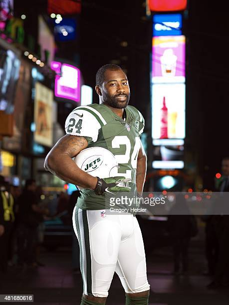 Football player Darrelle Revis is photographed for Sports Illustrated on May 6, 2015 in Time Square in New York City. CREDIT MUST READ: Gregory...
