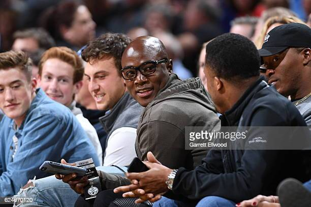 Football player DeMarcus Ware of the Denver Broncos watches the game between the Denver Nuggets and the Golden State Warriors on November 10 2016 at...