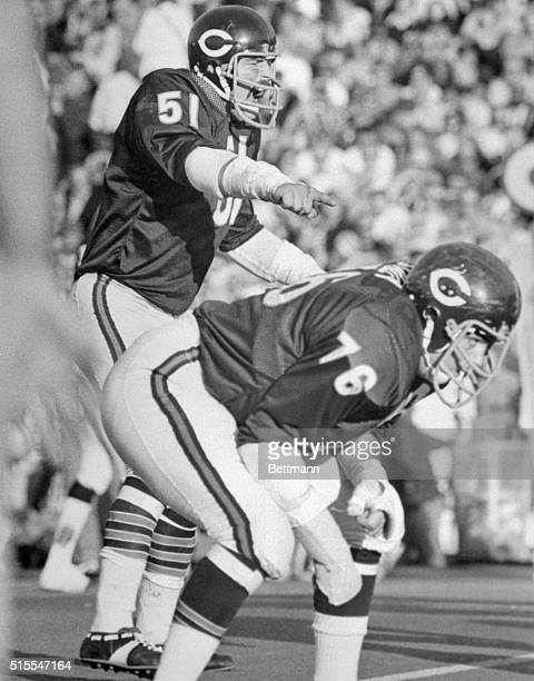 Football player Dick Butkus of the Chicago Bears is pictured here on the field giving a defensive signal over the head of unidentified defensive...