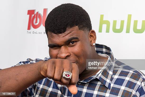 """Football player DJ Fluker attends the """"All My Children"""" & """"One Life To Live"""" premiere at Jack H. Skirball Center for the Performing Arts on April 23,..."""