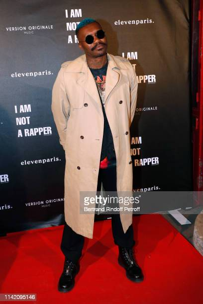 Football Player Djibril Cisse attends the I am not a Rapper Capsule Collection Launch Party Photocall on April 11 2019 in Paris France