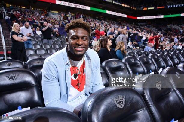 Football Player DK Metcalf of the Seattle Seahawks attends a game between the Toronto Raptors and the Phoenix Suns on March 3 2020 at Talking Stick...