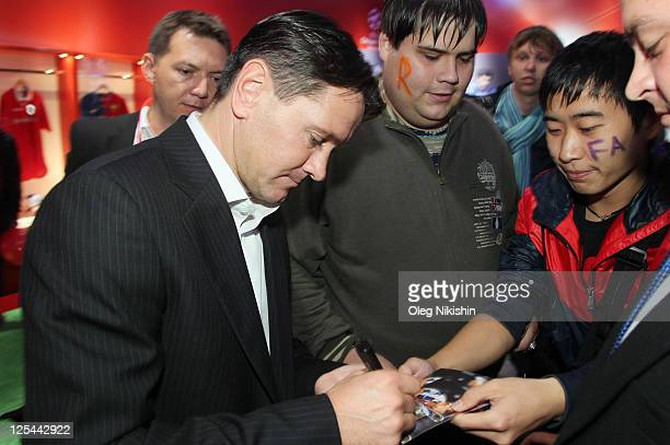 Football player Dmitri Alenichev during sign session for fans during the UEFA Champions League Trophy Tour 2011 on September 16 2011 in St Petersburg...