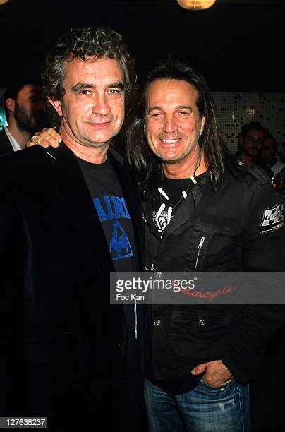 Football player Dominique Rocheteau and singer Francis Lalanne attend the 'L'Ange Vert' Tribute to Dominique Rocheteau Party at Le Coq Sportif...