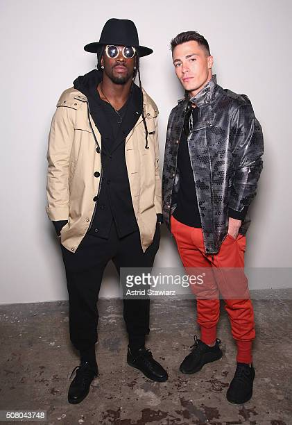 Football player Dwayne Harris and Colton Haynes attend the EFM Autumn/Winter 2016 Men's Presentation at Skylight at Clarkson Sq on February 2 2016 in...