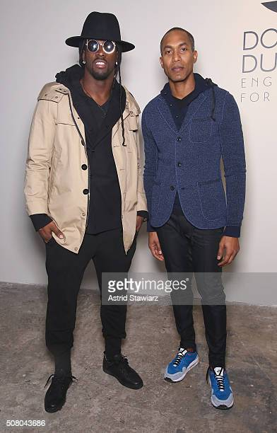Football player Dwayne Harris and Designer Donrad Duncan attend the EFM Autumn/Winter 2016 Men's Presentation at Skylight at Clarkson Sq on February...