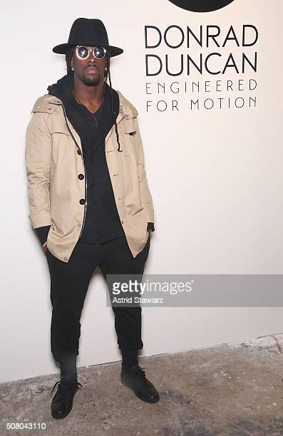 Football player Dwayne Harris attends the EFM Autumn/Winter 2016 Men's Presentation at Skylight at Clarkson Sq on February 2, 2016 in New York City.