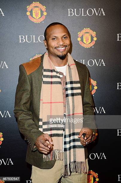 Football player Eric King arrives at Bulova/Manchester United Trophy Tour red carpet event at W Hollywood on February 6 2014 in Hollywood California
