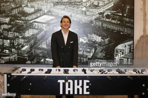 Football player Federico Bernardeschi attends the Juventus Undici experience in partnership with Segafredo at Milan Design Week 2018 on April 14 2018...