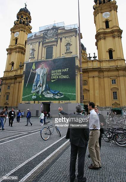 Football player Franck Ribery of Bayern Munich seen on a city Nike advertising poster at the Odeonsplatz on August 09 2007 in Munich Germany The...