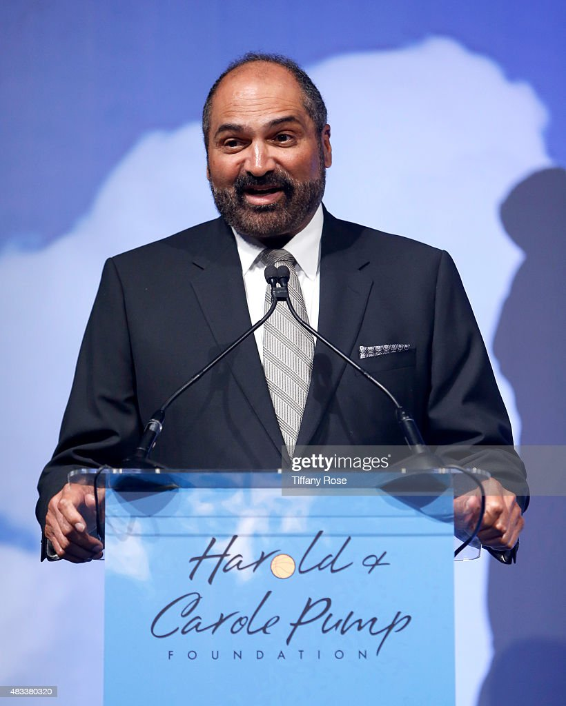 Football player Franco Harris speaks onstage at the 15th annual Harold & Carole Pump Foundation gala at the Hyatt Regency Century Plaza on August 7, 2015 in Century City, California.