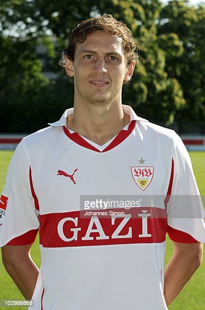 Football player Georg Niedermeier poses during the VfB Stuttgart team presentation on July 19 2010 in Stuttgart Germany