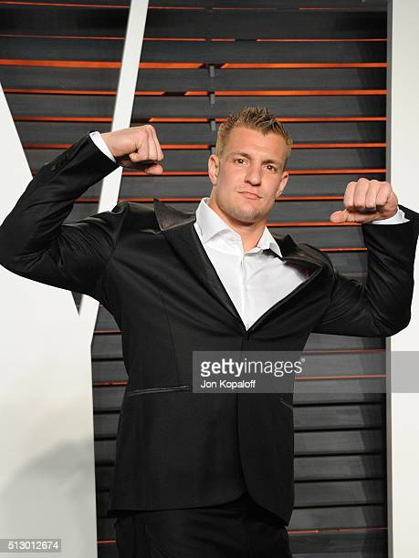 Football player Gronkowski attends the 2016 Vanity Fair Oscar Party hosted By Graydon Carter at Wallis Annenberg Center for the Performing Arts on...