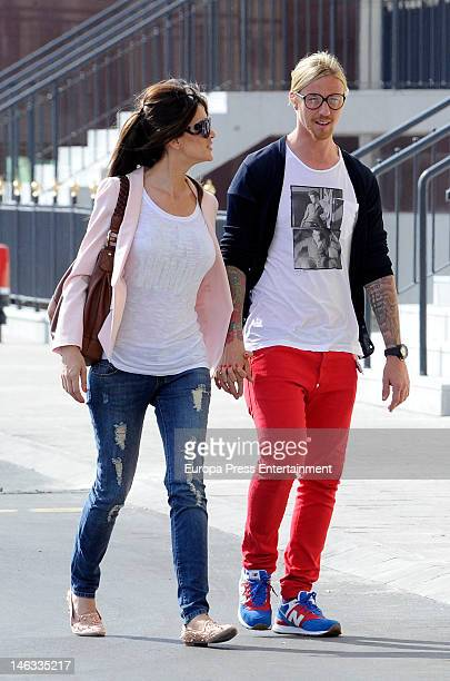 Football player Guti and tv presenter Romina Belluscio several months pregnant are seen on May 30 2012 in Madrid Spain