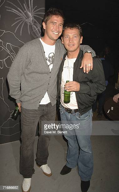 Football player Harry Kewell and Sid Owen attend the Rolling Stones after show party at Ronnie Wood's home on August 20 in Kingston England