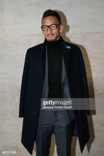 Football player Hidetoshi Nakata attends the Louis Vuitton show as part of the Paris Fashion Week Womenswear Spring/Summer 2018 on October 3 2017 in...