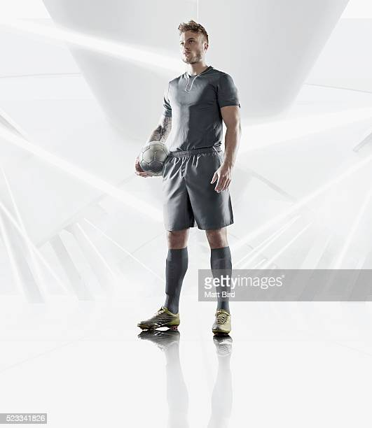 Football player in futuristic white environment