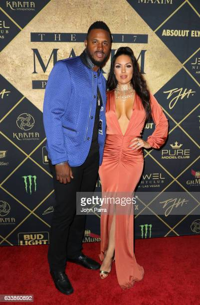 Football player James Anderson and Carissa Rosario arrive at the Maxim Super Bowl Party on February 4, 2017 in Houston, Texas.