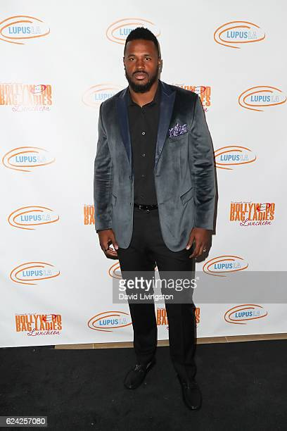 Football player James Anderson arrives at the 14th Annual Lupus LA Hollywood Bag Ladies Luncheon at The Beverly Hilton Hotel on November 18 2016 in...