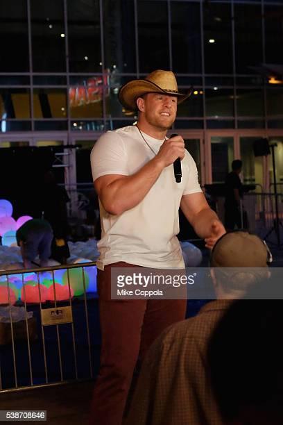 Football player J.J. Watt speaks during rehearsals at Bridgestone Arena on June 7, 2016 in Nashville, Tennessee.