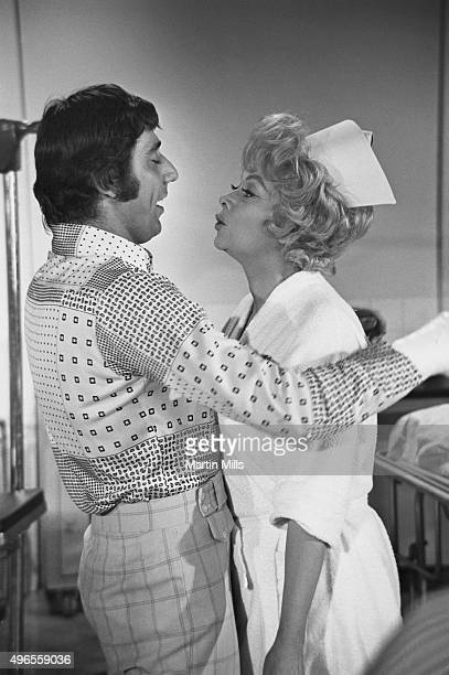 Football player Joe Namath of the New York Jets and American comedienne Lucille Ball in a sketch for 'The Super Comedy Bowl' on December 6 1970 in...