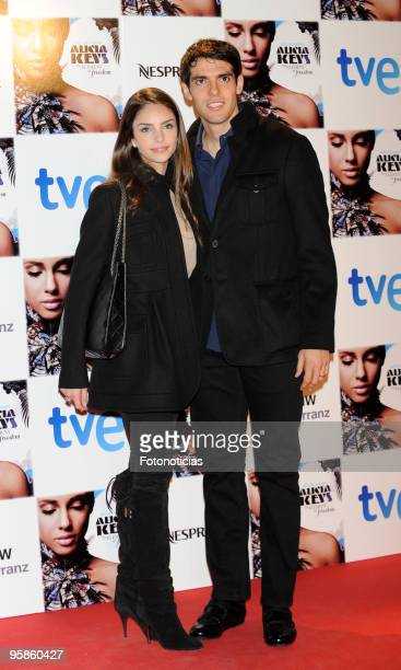 Football player Kaka and his wife Caroline Celico arrive to Alicia Keys concert, at the Royal Theatre on January 18, 2010 in Madrid, Spain
