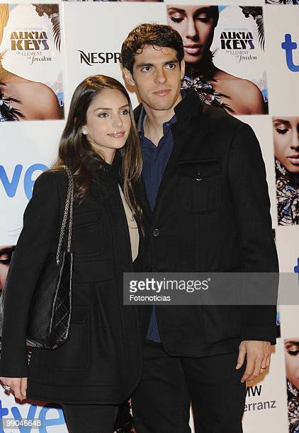Football player Kaka and his wife Caroline Celico arrive to Alicia Keys concert at the Royal Theatre on January 18 2010 in Madrid Spain
