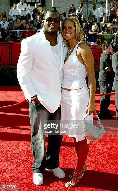 Football Player LaVar Arrington and Trishia Johnson attend the 12th Annual ESPY Awards held at the Kodak Theatre on July 14 2004 in Hollywood...
