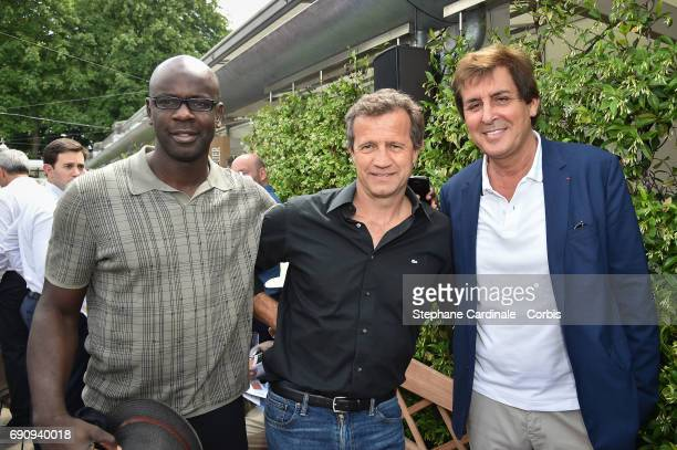 Football Player Lilian Thuram Sports director of the 'Racing Club de Toulon Rugby' Fabien Galthie and Max Guazzini attend the 2017 French Tennis Open...