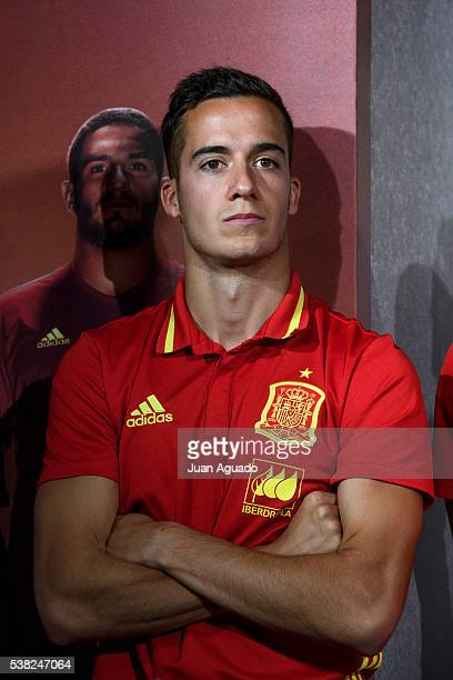 Football player Lucas Vazquez presents Adidas new boots at Adidas Store on June 5 2016 in Madrid Spain