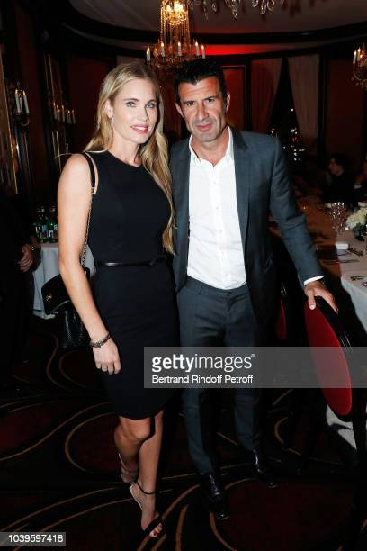 Football Player Luis Figo and his wife Helen Svedin attend 'Ryder Cup Dinner' at Fouquet's Barriere on September 24 2018 in Paris France