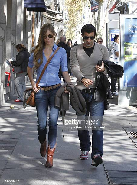 Football player Luis Figo and his wife Helen Swedin are seen on November 2 2011 in Madrid Spain