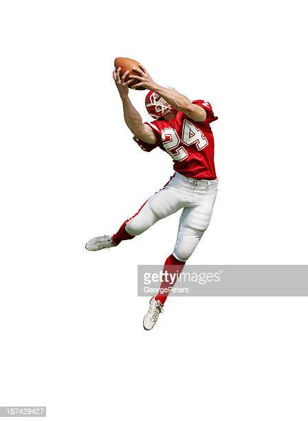 football player making fantastic catch with clipping path - football player stock pictures, royalty-free photos & images