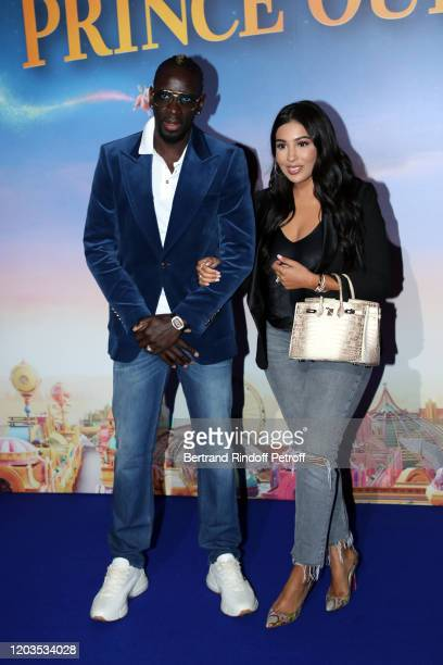 Football Player Mamadou Sakho and his wife Majda Sakho attends Le Prince Oublie Paris Premiere at Le Grand Rex on February 02 2020 in Paris France