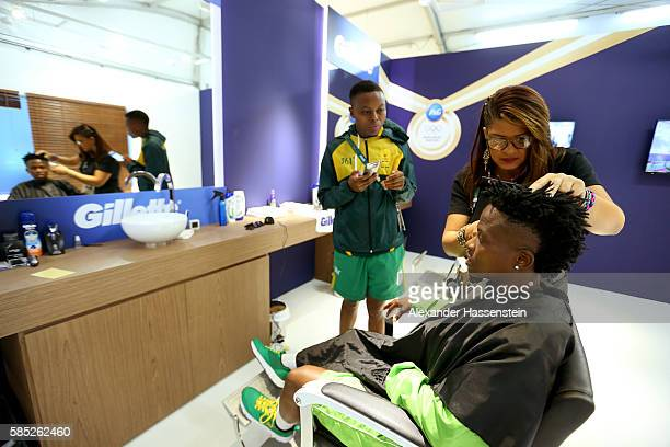 Football player Mamello Makhabane of South Africa seen at the beauty salon at the Olympic Village ahead of the Rio 2016 Olympic Games on August 2...