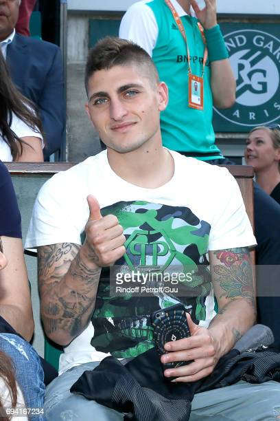 Football player Marco Verratti attends the 2017 French Tennis Open Day Thirteen at Roland Garros on June 9 2017 in Paris France